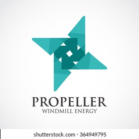 Propeller windmill of energy abstract vector and logo design or template geometry circular business icon of company identity symbol concept