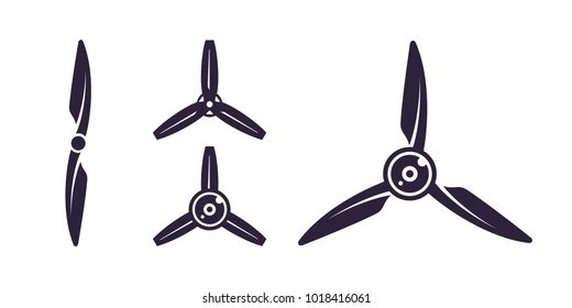 Propellers icons. Set of aviation logos