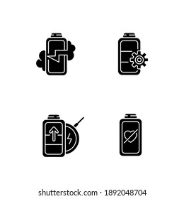 Proper battery usage black glyph icons set on white space. Device explosion posibility. Right factory settings. Zero percentage. Wireless technology. Silhouette symbols. Vector isolated illustration