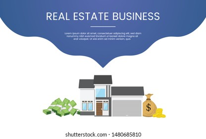 property business investment concept theme for template banner or landing homepage infographics - vector