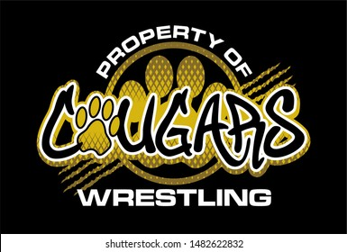 property of cougars wrestling team design with paw print and claw marks for school, college or league