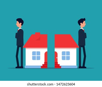 Property division. Vector illustration Home Ownership Concept. House, Arguing. Flat cartoon design.