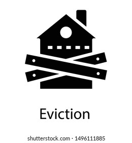 Property eviction in solid icon