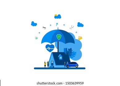 Property and health insurance with Tiny People Character Concept Vector Illustration, Suitable For web landing page, Wallpaper, Background, Card, banner, Book Illustration