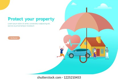 Property and health insurance vector illustration concept, agent with big umbrella cover house car and money  can use for, landing page, template, ui, web, mobile app, poster, banner, flyer