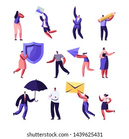 Property, Health Medical, Pr, Social Media Networking Service Set. Male and Female Characters Holding Shield, Umbrella, Paper Airplane, Photo and Envelope. Cartoon Flat Vector Illustration