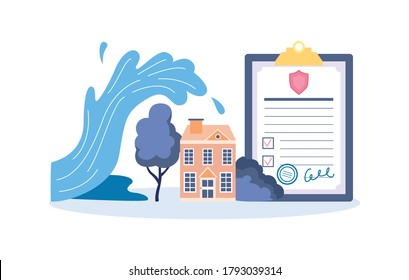 Property and home insurance against floods and natural disasters banner with house and insurance policy document, flat vector illustration isolated on white background.