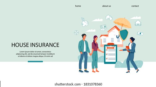 Property and home insurance website banner template with agent and young family characters. Safety and security of property and insurance guarantees. Web  landing  page interface design.