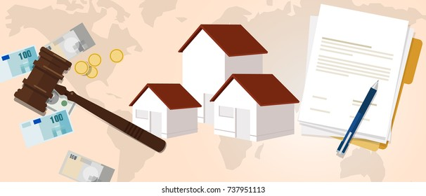 property housing home law gavel wooden hammer justice legal judicial investment money