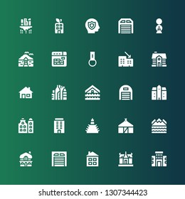 property icon set. Collection of 25 filled property icons included Building, House, Garage, Mansion, Flood, Hut, Urban, Rental, Key chain, Buildings, Bungalow, Insurance