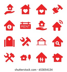 Property icons set. set of 16 property filled icons such as home, home care, hummer and wrench, hummer, house sale, rent tag, house insurance, wrench hummer