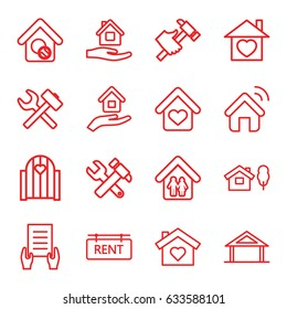 Property icons set. set of 16 property outline icons such as home, home care, holding document, hummer and wrench, hummer, rent tag, house insurance, house signal