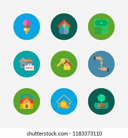 Property icons set. Deal and property icons with house for sale, key and park. Set of green for web app logo UI design.