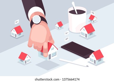 Property market vector illustration. Agent of real estate hand holding miniature house flat style design. Realtor helping to search dream home. Deal sale or buying realty concept