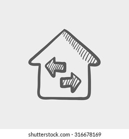Property resale sketch icon sketch icon for web, mobile and infographics. Hand drawn vector dark grey icon isolated on light grey background.
