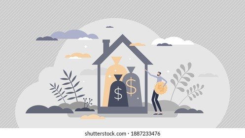 Property tax or financial real estate debt as business loan tiny person concept. Home mortgage financial pressure with money payment obligation to bank vector illustration. Rental living cost increase