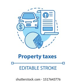 Property taxes blue concept icon. Calculating value added tax idea thin line illustration. Automobile ad-valorem taxation. Goods interest deduction. Vector isolated outline drawing. Editable stroke