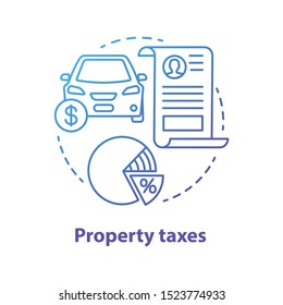Property taxes blue concept icon. Tax on value of possessions idea thin line illustration. Real estate, automobile ad-valorem taxation. Goods percent share deduction. Vector isolated outline drawing