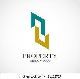 Property window of door line abstract vector and logo design.