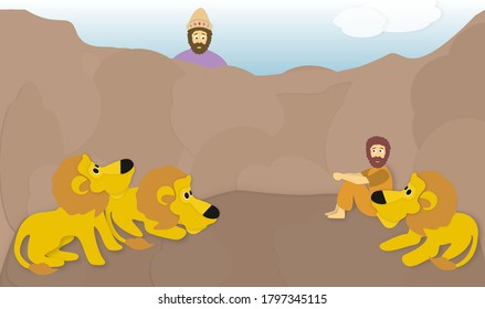 The prophet Daniel among the lions in the pit