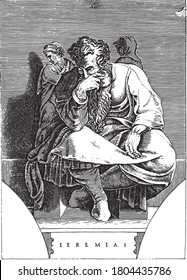 Prophet Jeremiah, Adamo Scultori, after Michelangelo, 1585 The prophet Jeremiah seated. There are small figures to the left and right of the prophet, vintage engraving.