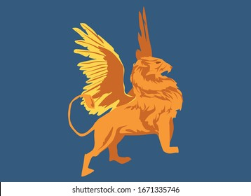 Prophetic animal biblical illustration prophecy of Daniel chapter 7 representing lion with wings