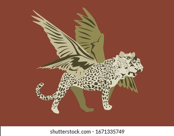 Prophetic animal biblical illustration prophecy of Daniel chapter 7 showing leopard with four heads and wings