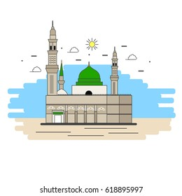 Prophet's Muhammad Mosque Flat Linear illustration. Vector
