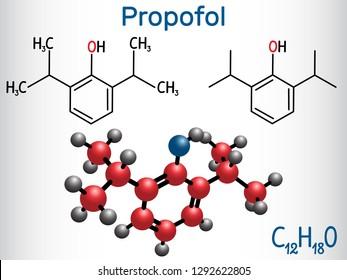 Propofol anesthetic drug molecule. Structural chemical formula and molecule model. Vector illustration