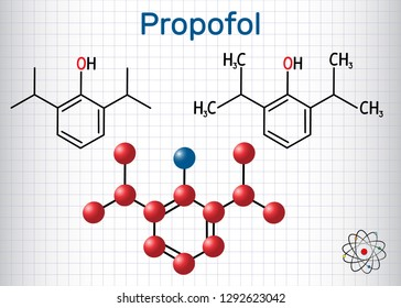 Propofol anesthetic drug molecule. Structural chemical formula and molecule model. Sheet of paper in a cage. Vector illustration
