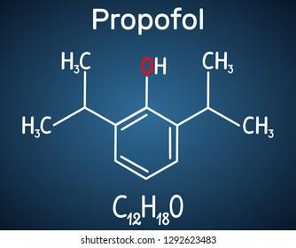 Propofol anesthetic drug molecule. Structural chemical formula on the dark blue background. Vector illustration