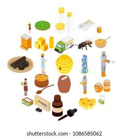 Propolis honey apiary icons set. Isometric illustration of 25 propolis honey apiary vector icons for web