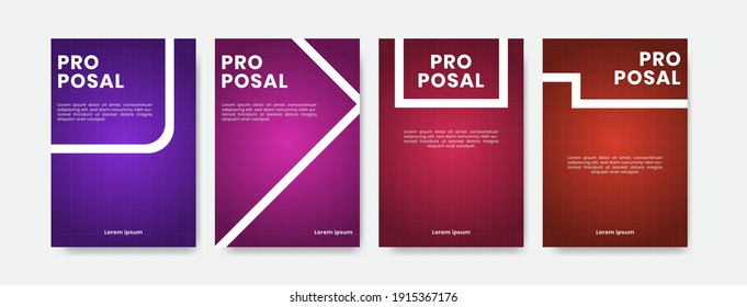 Proposal cover design. Line abstract background. Set background cover with purple, pink, red, and orange color.