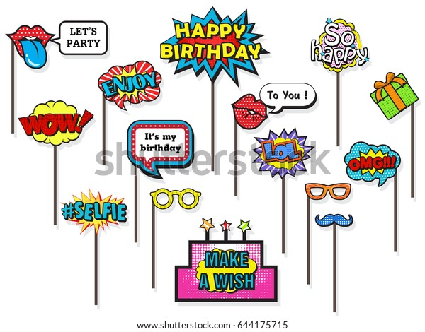 Props Photos Booth On Happy Birthday Stock Vector (Royalty Free