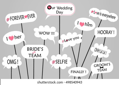 Props for photos on weddings featuring cute and funny phrases isolated on gray background. vector.