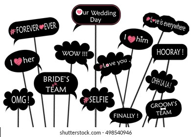 Props for photos on weddings featuring cute and funny phrases isolated on white background.  vector