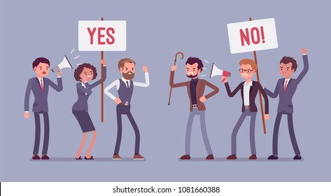 Pros and cons. Active people at gathering to decide advantages and disadvantages, ideas for and against, positive and negative arguments, holding yes, no signs. Vector flat style cartoon illustration