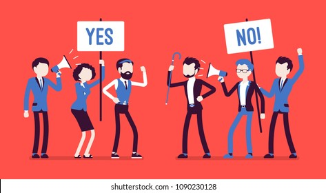 Pros and cons. Active people at gathering to decide advantages, disadvantages, ideas for and against, positive and negative arguments, holding yes, no signs. Vector illustration, faceless characters