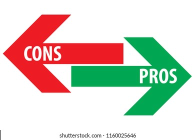 Pros and cons assessment analysis red left green right arrows with transparent text on empty background. Simple concept for advantages disadvantages in business planning. Vector illustration.