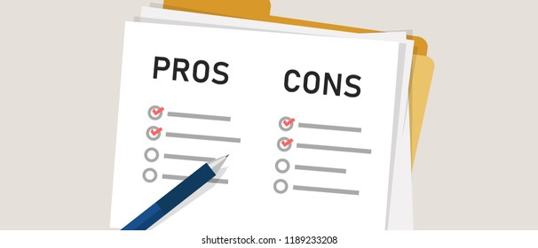 pros cons concept on decision making process. Listing positive and negative for a solution or choice. research question survey.