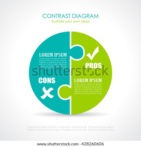 Pros Cons Diagram Template Vector Illustration Stock Vector Royalty
