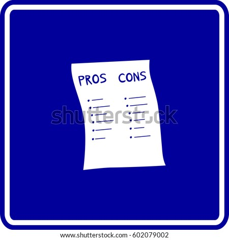 Pros Cons List Sign Stock Vector Royalty Free 602079002 Shutterstock