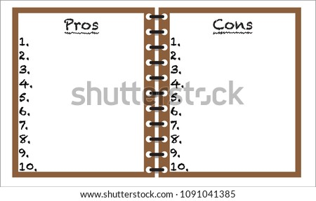 Pros Cons Notepad Template Background Isolated Stock Vector Royalty