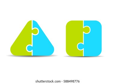 Pros and cons two part puzzle diagrams vector illustration isolated on white background. Flat web design elements for website, app or infographics materials.