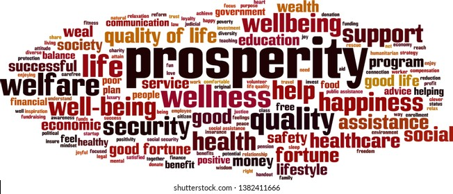 Prosperity cloud concept. Collage made of words about prosperity. Vector illustration