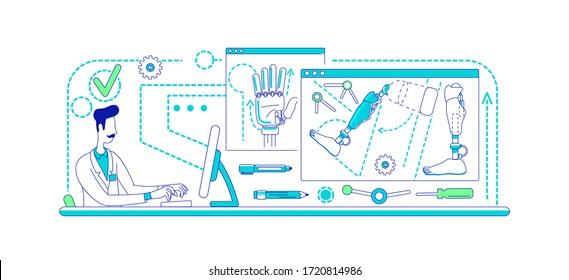 Prosthesis development laboratory thin line concept vector illustration. Lab worker 2D cartoon characters for web design. Scientist designing artificial limbs. Prosthetics science creative idea