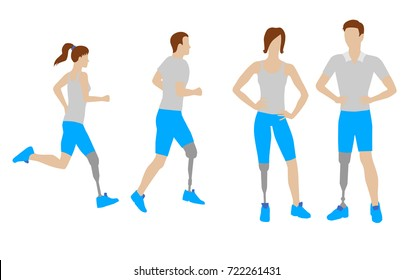 Prosthesis for legs vector set. Flat icons and signs. Standing man and woman with prosthesis. Running man and woman with prosthesis. Vector illustration