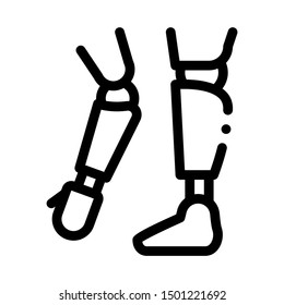 Prosthetics Of Arms And Leg Orthopedic Vector Icon Thin Line. Contour Illustration