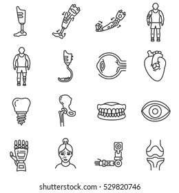 Prosthetics icons set. Medical mechanical prostheses and replacement of parts of the body, thin line design.