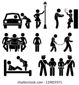 Prostitute Whore Hooker Pimp Stick Figure Pictogram Icon